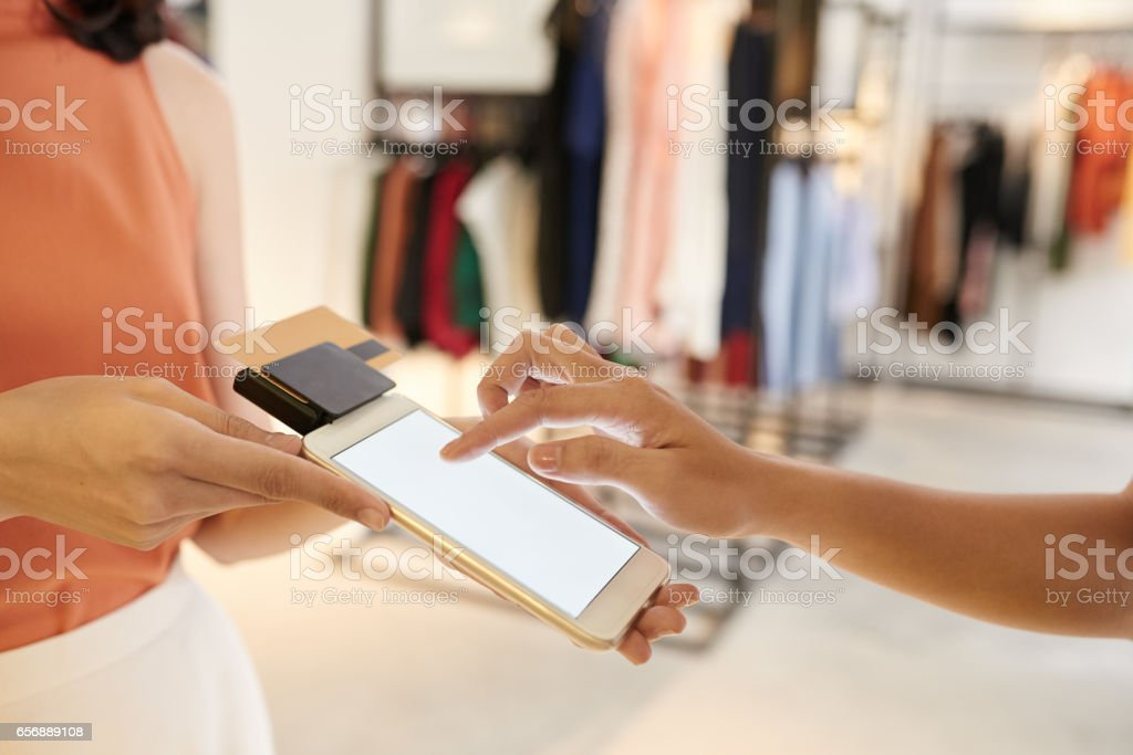Paying for purchase stock photo