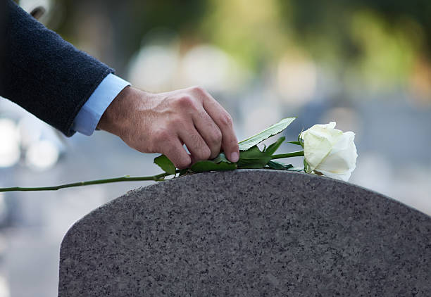 Paying his respects… Cropped shot of a man placing a white rose on a grave dead stock pictures, royalty-free photos & images