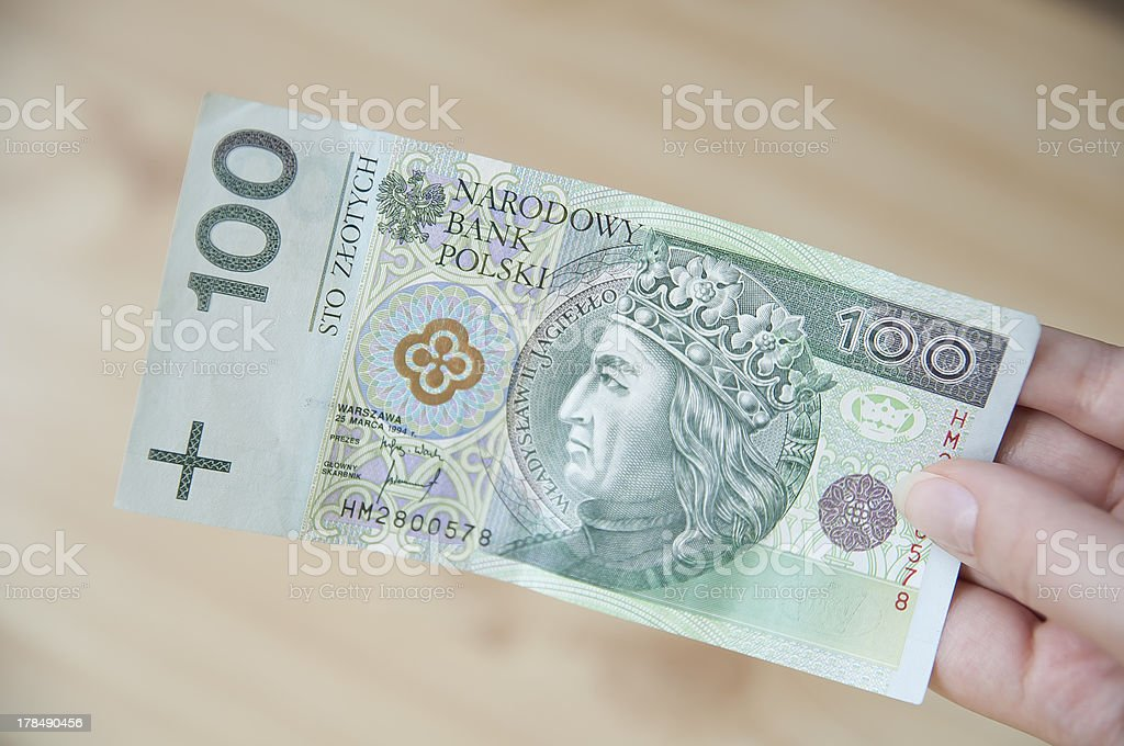 Paying in Poland royalty-free stock photo