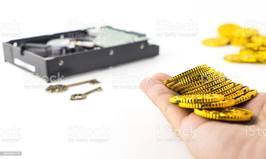 Paying money for Data hardisk that got Ransomware and Malware infected stock photo