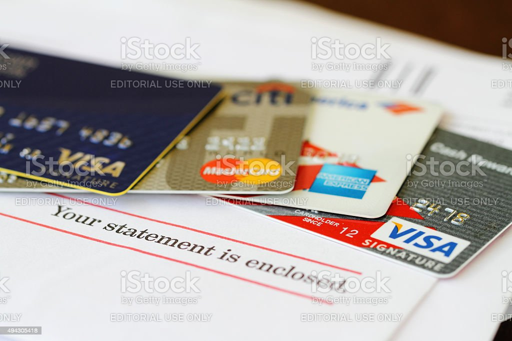 Paying off the credit card bills stock photo
