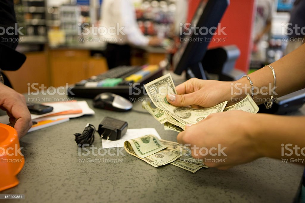 Paying royalty-free stock photo