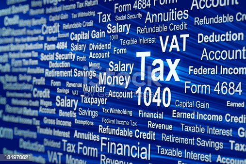 Tax related phrases with a small depth of field
