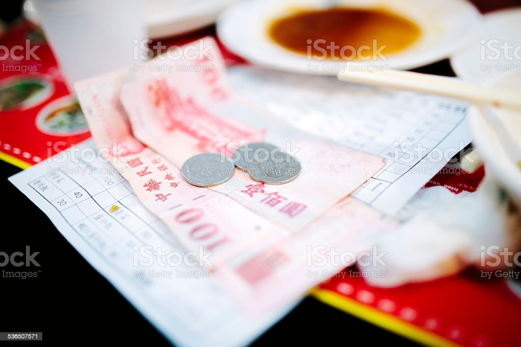 Paying the bill, traditional food, Taipei, Taiwan stock photo