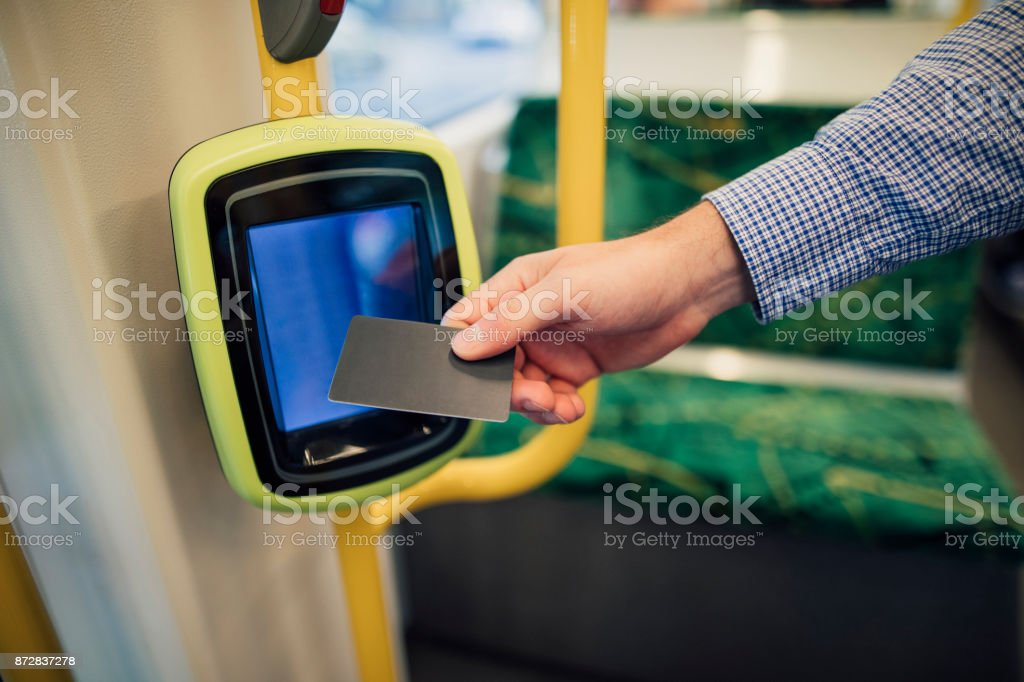 Paying Tram Fare With Contactless Card stock photo