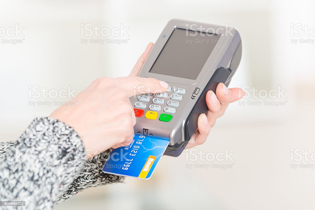 Paying with credit or debit card stock photo