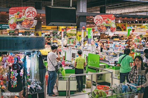 istock Payment and cash desk in Thai hypermart 956903248