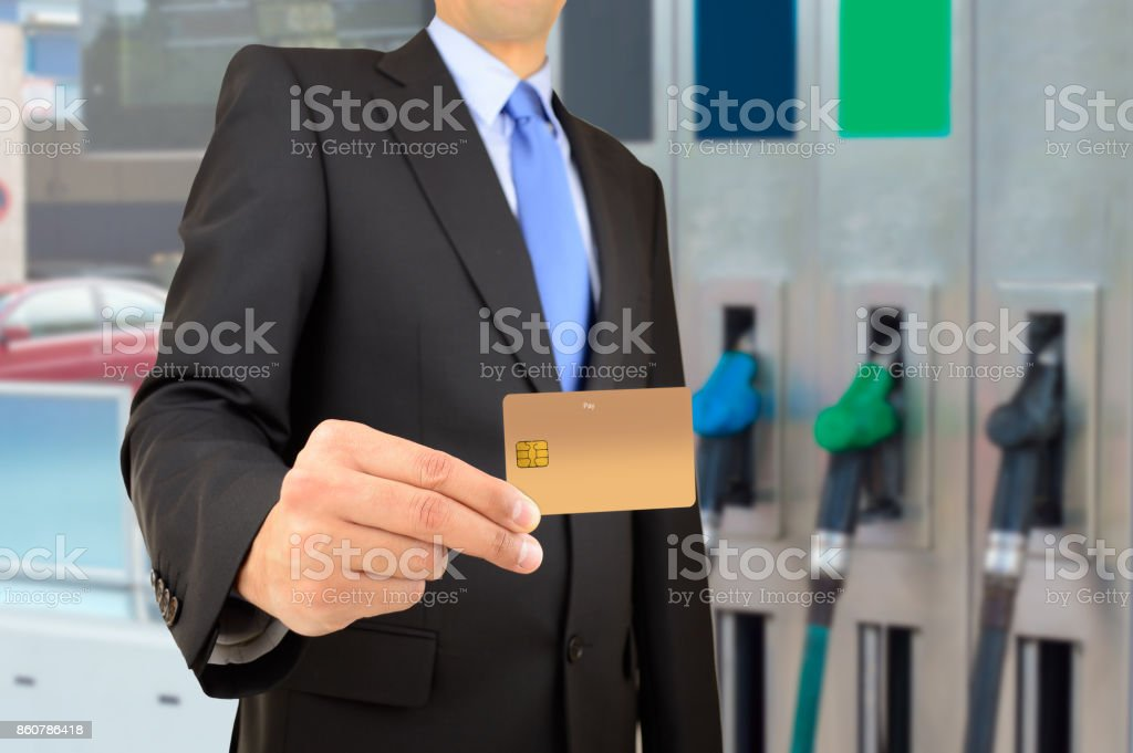 payment at the gas station stock photo