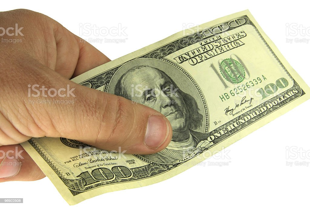 Payment by cash royalty-free stock photo