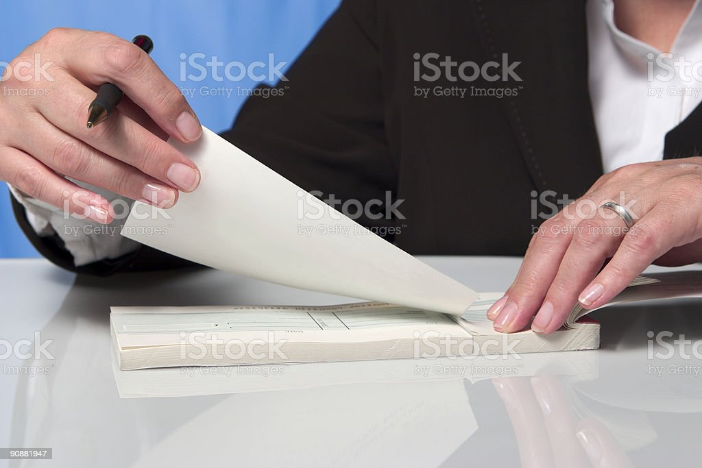 Payment by cheque stock photo