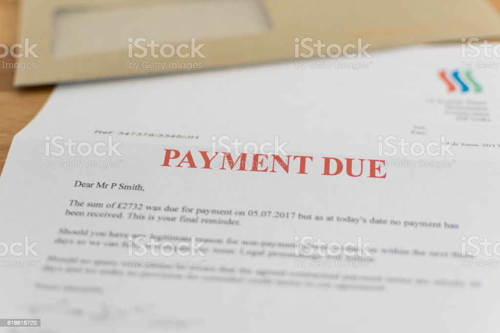 Payment Due Notice letter chasing money stock photo