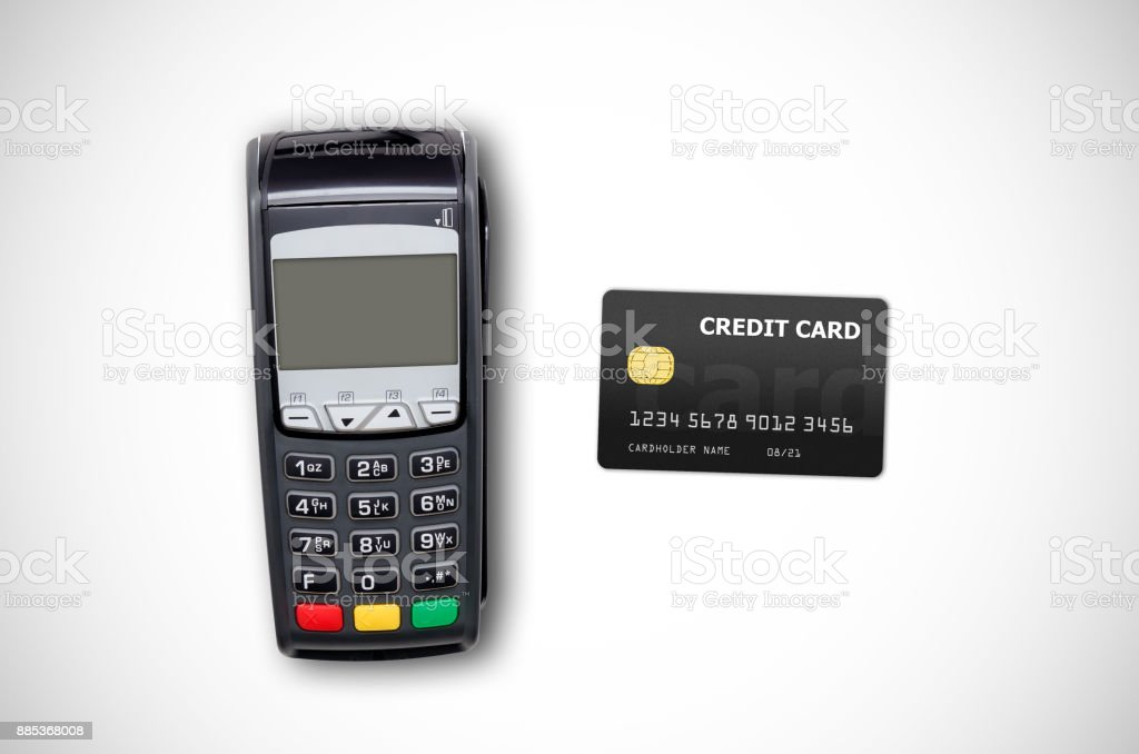 Payment terminal and credit card on white background – zdjęcie