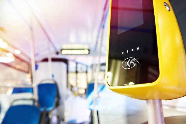 Payment terminal in bus stock photo