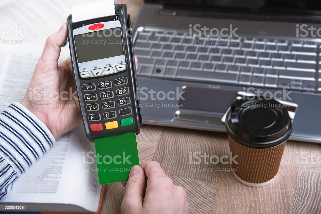 Payment terminal in the office. stock photo