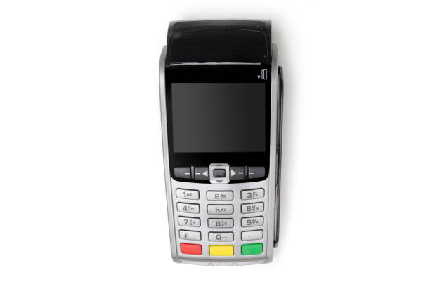 payment terminal isolated on white background - station stock pictures, royalty-free photos & images