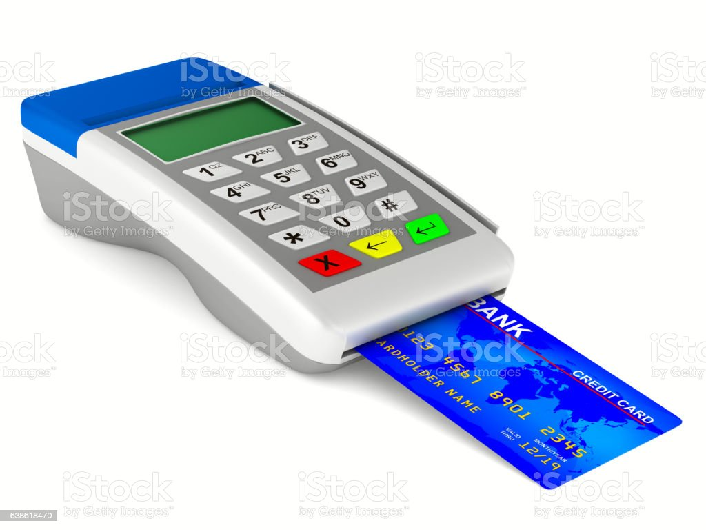 payment terminal on white background. Isolated 3d image stock photo