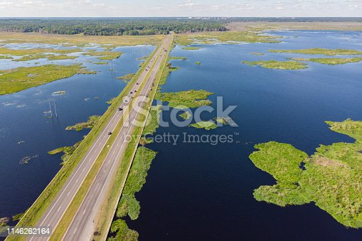 Aerial view of highway over Paynes Prairie in Gainesville, Florida