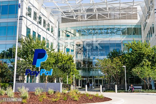 September 3, 2019 San Jose / CA / USA - PayPal headquarters in Silicon Valley; PayPal Holdings Inc. is an American company operating a worldwide online payments system