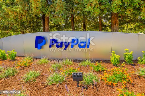 San Jose, California, United States - August 12, 2018: Paypal Headquarters logo, a multinational corporation that provides a virtual bank service and payments through internet