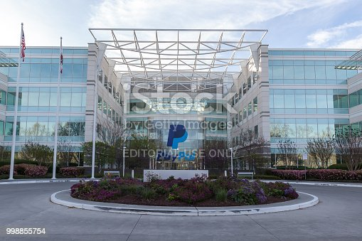San Jose, California, USA - March 30, 2018:  Exterior view of Paypal 's headquarters in Silicon Valley. PayPal Holdings, Inc. is an American company operating a worldwide online payments system.