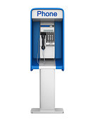Payphone Booth isolated on white background. 3D render
