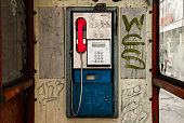 A dirty payphone in Budapest, Hungary