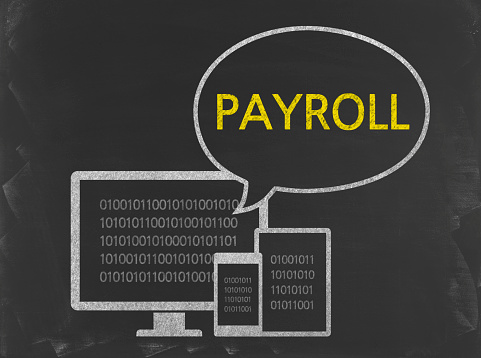 Payroll Business Chalkboard Background - Fotografie stock e altre immagini di Affari