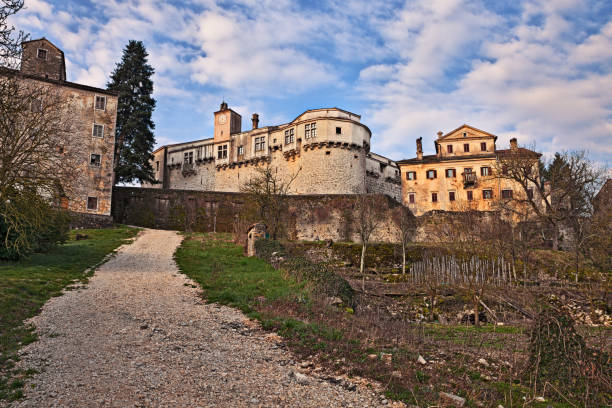 Pazin, Istria, Croatia: view from the countryside of the old town Pazin, Istria, Croatia: view from the countryside of the old town croatian culture stock pictures, royalty-free photos & images