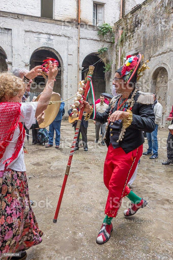 pazzariello and Neapolitan Traditional Masks Dancing stock photo