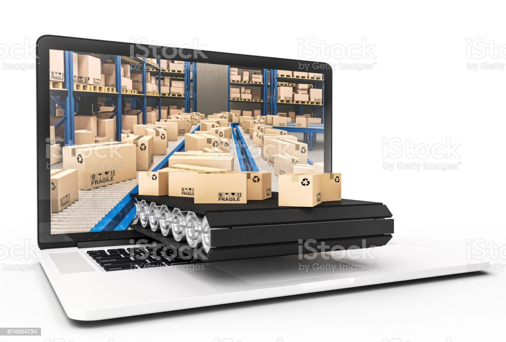 pc and warehouse stock photo