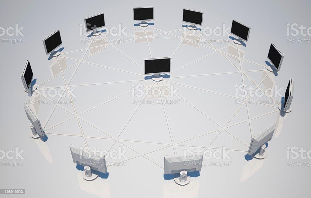 Pc monitor network - internet conference concept royalty-free stock photo
