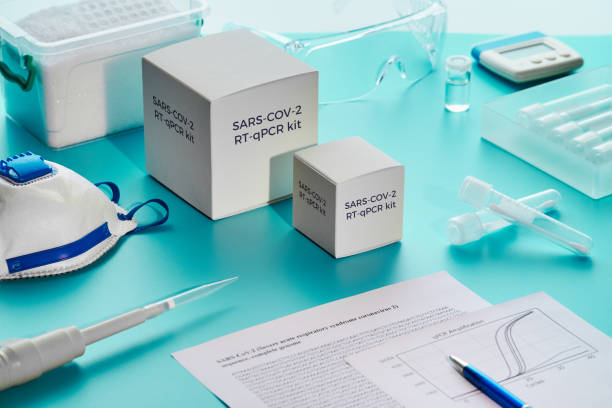 SARS-COV-2 pcr diagnostics kit. This is RT-qPCR kit using real time reverse transcription and amplification of DNA fragment to detect specific region of 2019-nCoV virus that cause Covid-19 disease. stock photo