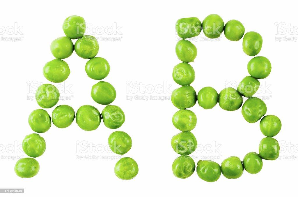 Pea alphabet: AB royalty-free stock photo