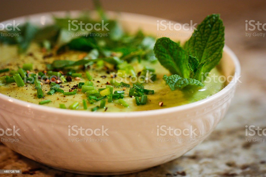 Pea and Parsnip Vichyssoise (thick soup) with Tarragon stock photo