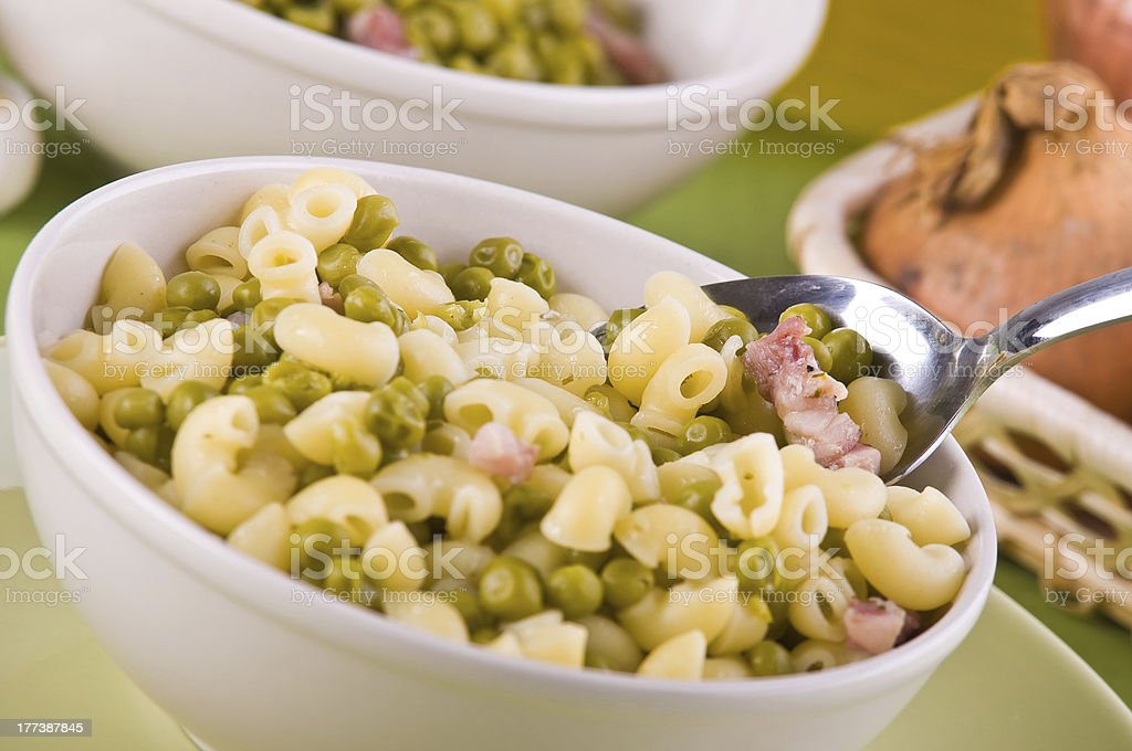 Pea and pasta soup. royalty-free stock photo