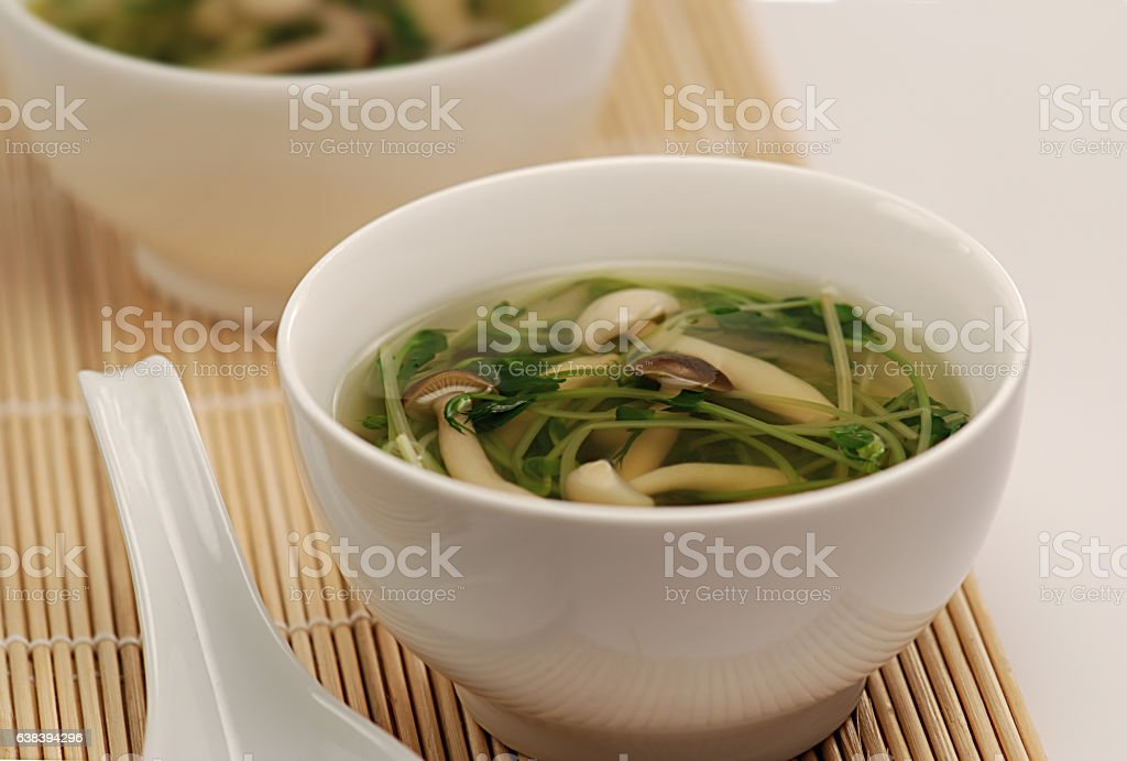 Pea Sprout and Mushroom Soup stock photo