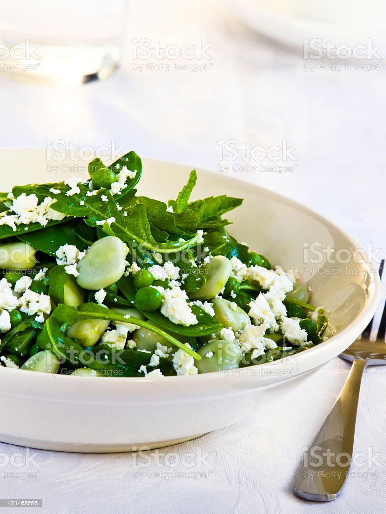 Pea&broad beans salad stock photo