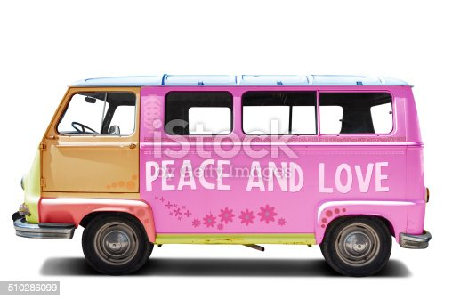 European manufacturing van decorated with flowers and hippies symbols of peace and love.
