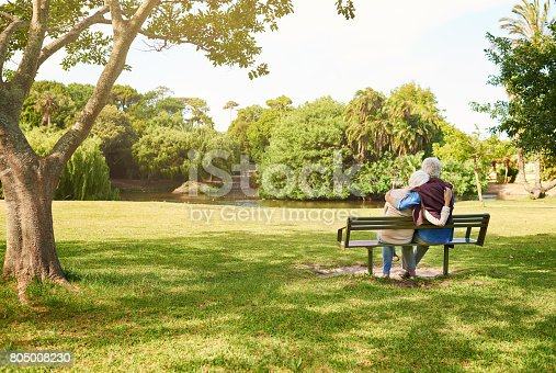 Rearview shot of an affectionate senior couple relaxing on a park bench