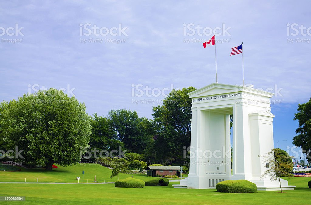 Peace Arch Park at United States and Canada border stock photo