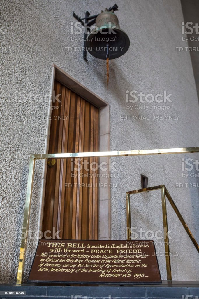Peace Bell at Coventry Cathedral stock photo