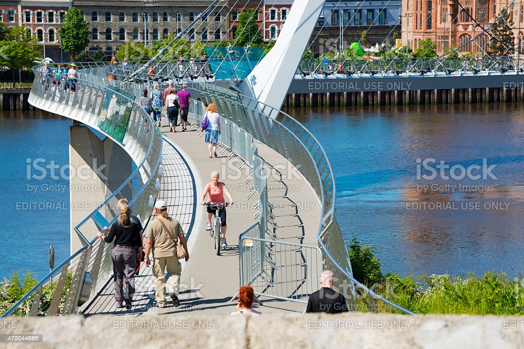 Peace Bridge in Derry, Northern Ireland stock photo
