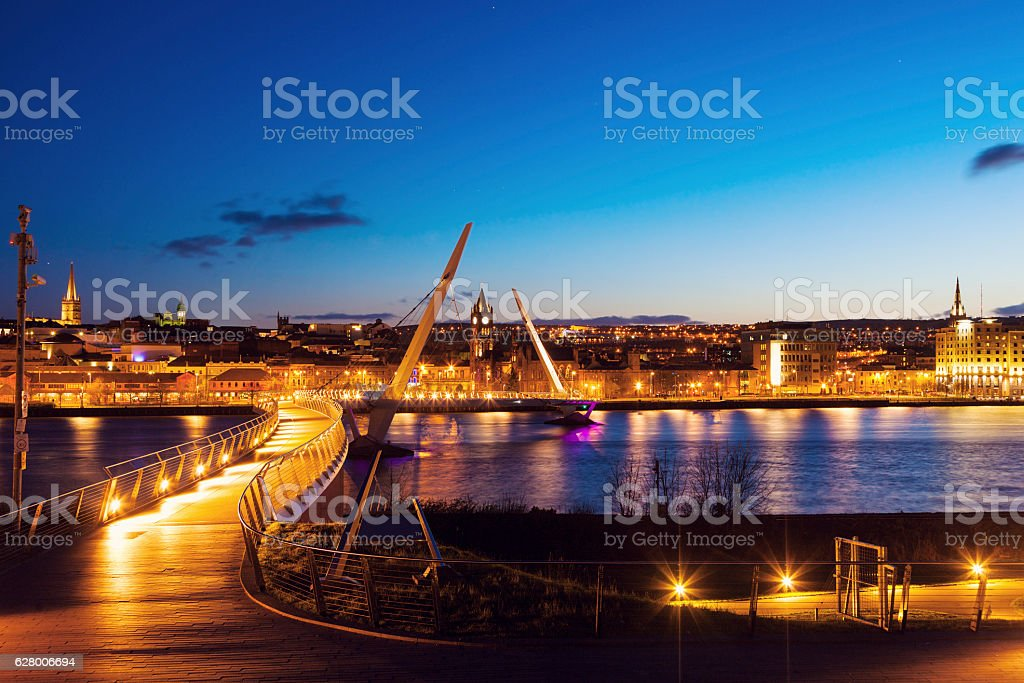 Peace Bridge in Derry stock photo