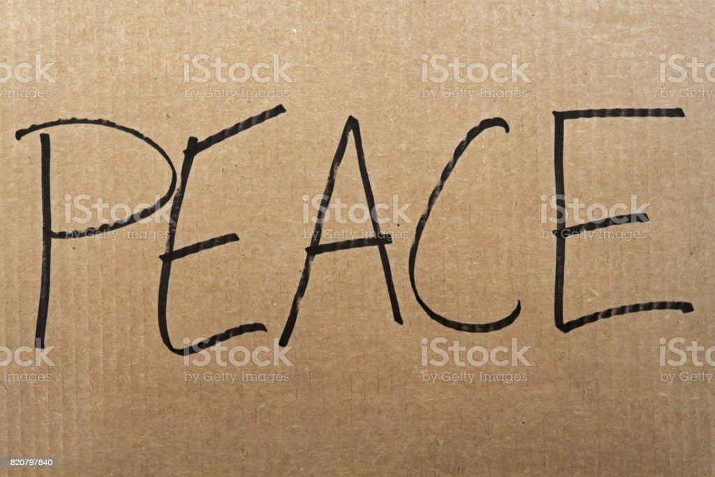 Peace Cardboard Sign stock photo