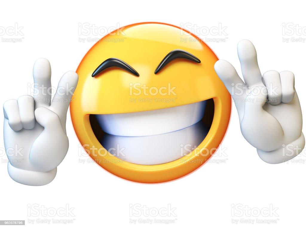 Peace emoji isolated on white background stock photo