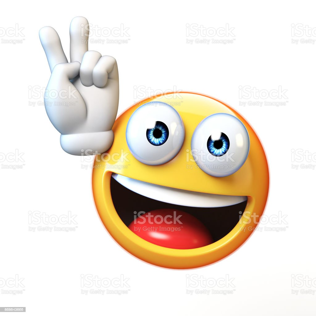 Peace emoji isolated on white background, victory emoticon 3d rendering stock photo