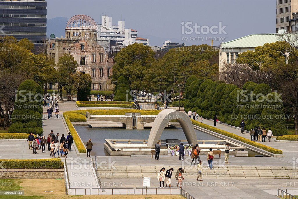 Peace memorial and the A-Bomb Dome, Hiroshima, Japan royalty-free stock photo