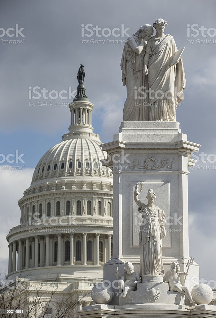 Peace Monument and US Capitol Building royalty-free stock photo