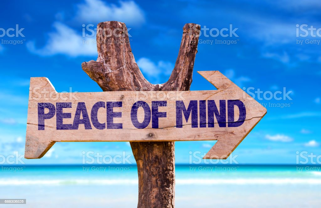 Peace of Mind directional sign stock photo