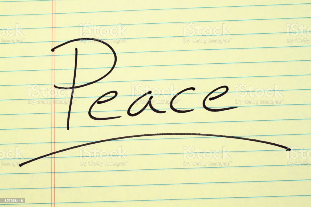 Peace On A Yellow Legal Pad stock photo